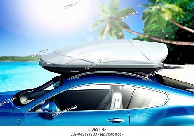 Car with roof rack near seashore. 3D illustration