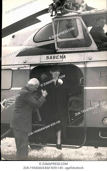 Apr. 04, 1954 - Queen Elisabeth of Belgium In Lille Queen Elisabeth of Belgium visiting the famous Cite Hospitaliere (building in the background) at little