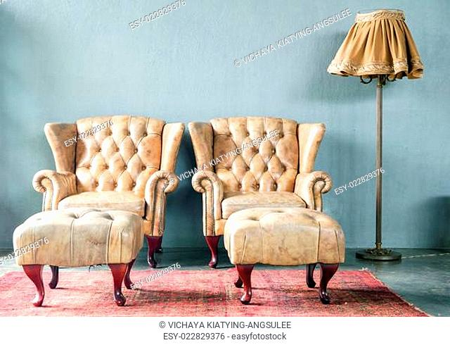 genuine leather classical style sofa