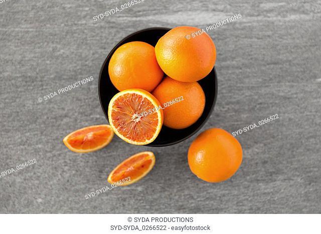 close up of fresh juicy blood oranges