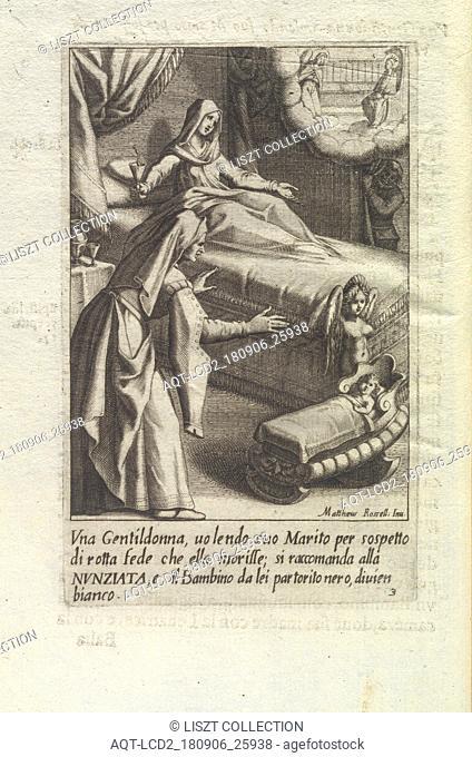 Vna gentildonna, uolendo suo marito per sospetto di rotta fede che ella morisse; si raccomanda alla Nvnziata, e il bambino da lei partorito nero, diuien bianco