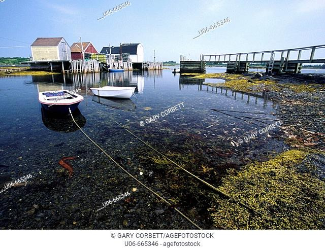 Fish shacks and boats at Blue Rocks, Nova Scotia, Canada