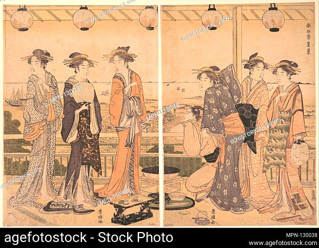 The Four Seasons in Southern Edo: A Summer Scene (Minami shiki; Natsu [no] kei). Artist: Utagawa Toyokuni I (Japanese, 1769-1825); Period: Edo period...