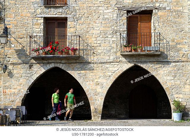 Detail of main square of Aínsa, a medieval village in Sobrarbe region, declarated Historical-Artistic Site  Huesca, Aragón, Spain
