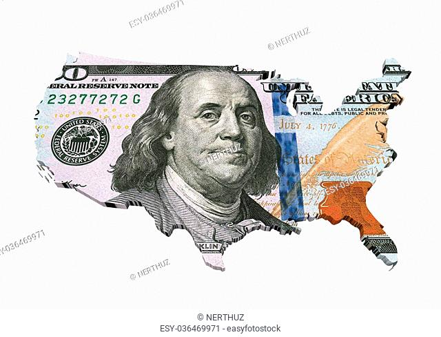 US Dollar Map isolated on white background. 3D render