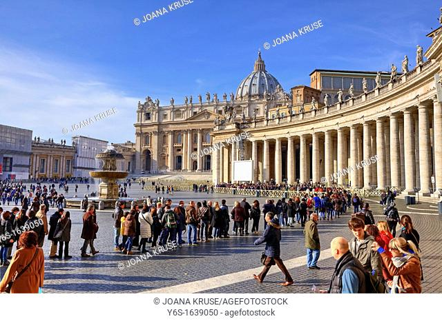 Stand in line at St  Peter's Basilica to visit from the inside - in St  Peter's Square at the Vatican to push the tourists and you have to deal with long...