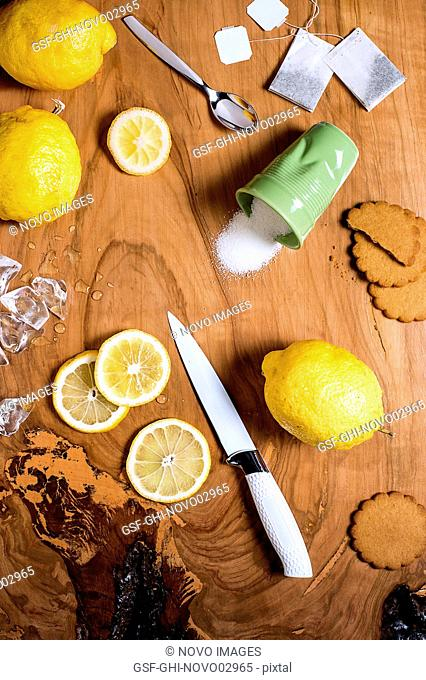 Iced Tea Ingredients on Wood Table, High Angle View