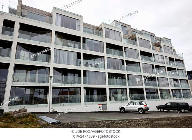 newly constructed apartment building in port area of reykjavik iceland