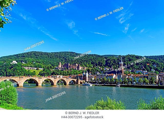 Heidelberg, Fluss, Neckar, Karl-Theodor-Brücke (Alte Brücke), Brückentor, Schloss