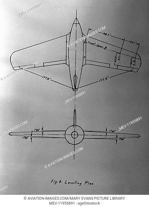 Luftwaffe Messerschmitt Me-163 Komet Levelling Plan Section Line-Drawing Technical-Drawing Diagram