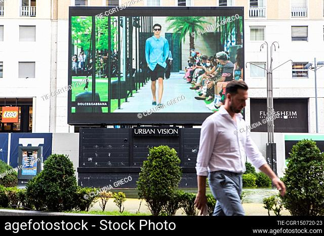Milano Digital Fashion Week: the fashion show by Dolce & Gabbana projected on screens in the city center , Milan, ITALY-15-07-2020