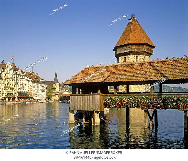 Lucerne canton of Lucerne Switzerland old town with the Chapel Bridge upon the river Reuss