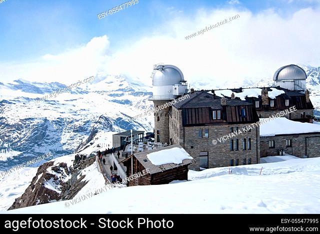 The Gornergrat Observatory and Matterhorn peak, Zermatt Switzerland