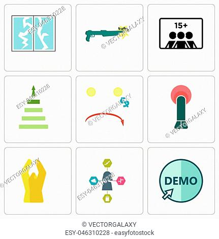 Set Of 9 simple editable icons such as demo, travel agent, folded hands, penetration, cost uction, next steps, number of players, shotgun, broken glass