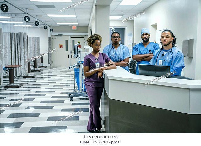 Portrait of serious nurses in hospital