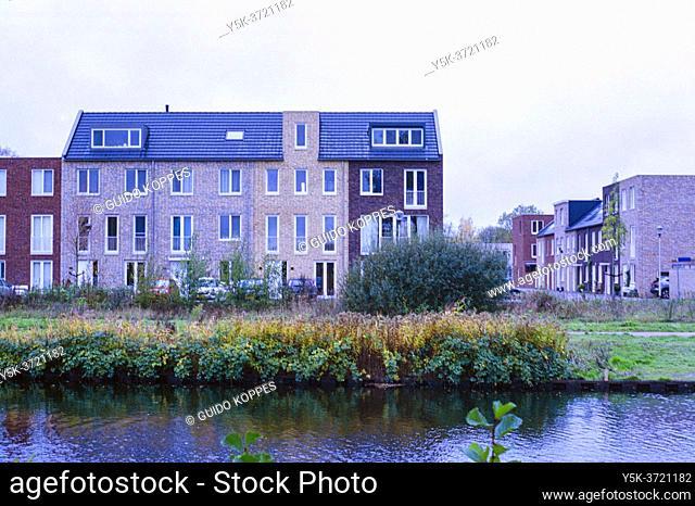 Tilburg, Netherlands. Newly build residences alongside Wilhelminakanaal bordering the Jerusalem Neighbourhood