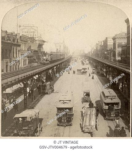 Street Scene, Bowery, New York City, USA, Along the Noted Bowery, New York USA, One Image of Stereo Card, 1896