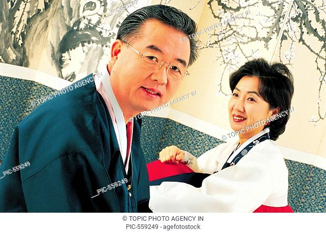 Couple In Korean Costume, Korea