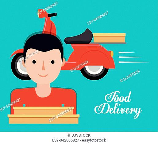 scooter food delivery related icons image vector illustration design