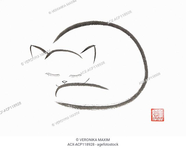 Minimalistic oriental illustration of a cute snuggled sleeping cat, Japanese Zen Sumi-e ink painting on white rice paper background