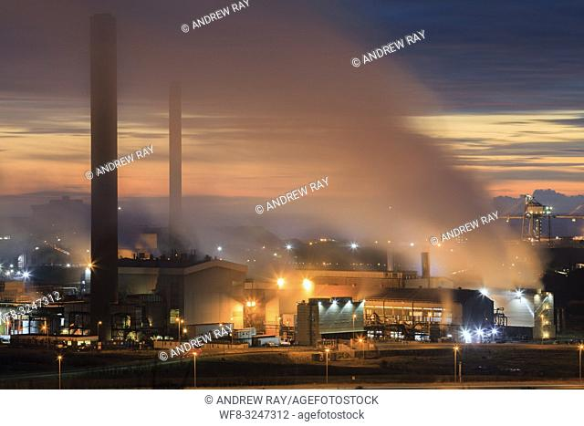 The Tata Steelworks at Port Talbot, in South Wales, captured during twilight from an inland section of the Wales Coast Path on an evening in mid February