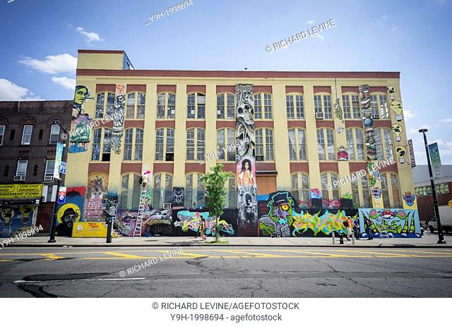 The Five Pointz building in Long Island City in Queens in New York. The building is an 200, 000 square foot outdoor art exhibit space where graffiti artists can...