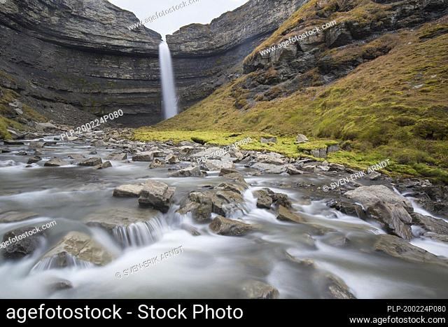 Waterfall Hemsilfossen on the Hemsil river at Ekmanfjorden, Svalbard / Spitsbergen, Norway
