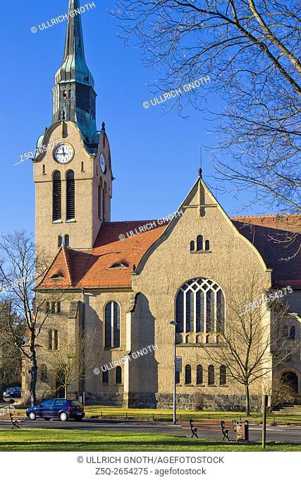 A church, the Christuskirche Church, in the urban district of Klotzsche in Dresden, Saxony, Germany