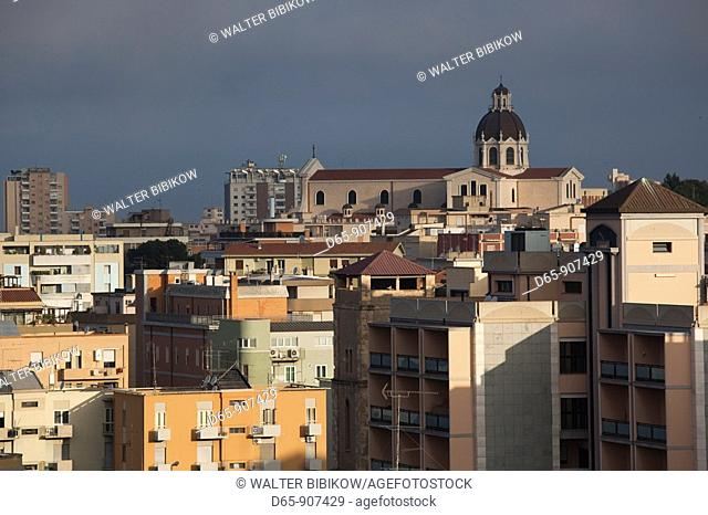 Italy, Sardinia, Cagliari, city and Basilica Nostra Senora di Bonaria church along Viale Diaz, morning