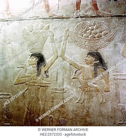 Painted relief from the tomb of Ty. Detail showing serving girls who personify the estates owned by Ty during his lifetime