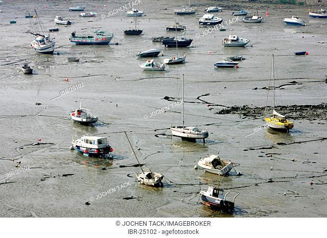FRA, France, Normandy, Grandville: Habour at low tide