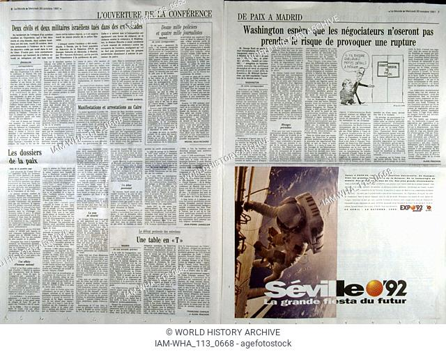 French publication 'Le monde' reporting on the Madrid Conference; a peace conference, held from 30 October to 1 November 1991 in Madrid