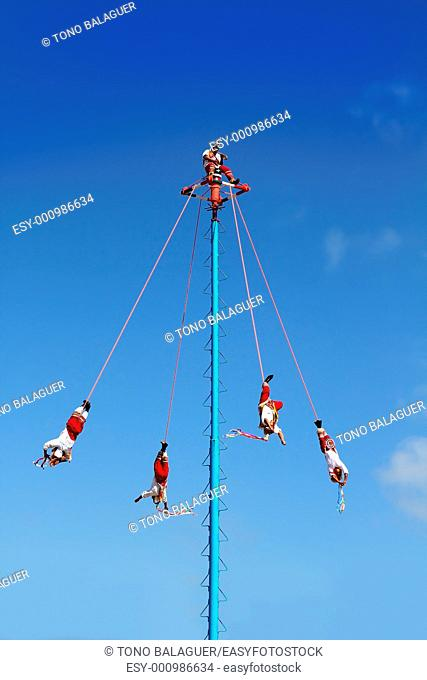 Dance of Papantla flyers danza de los voladores only editorial use image