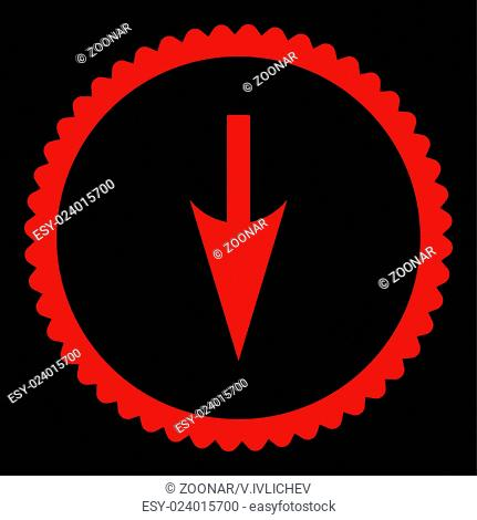 Sharp Down Arrow flat red color round stamp icon