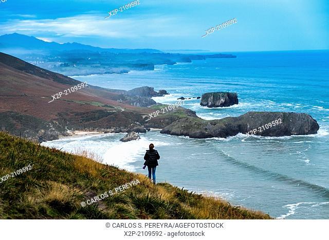 Panoramic from cove of Peñarada, Llanes, Asturias, Spain