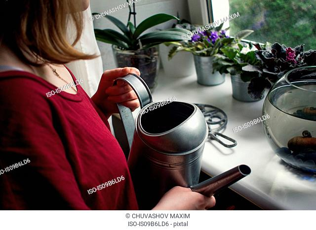 Over shoulder view of woman watering potted plants on windowsill