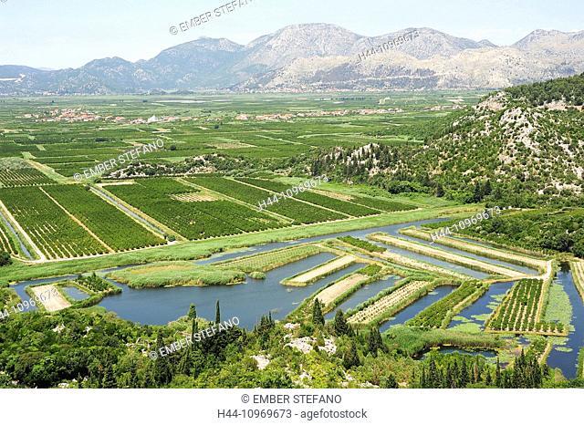 agriculture, Croatia, Balkans, Europe, cultivation, fruits, green, hills, irrigation, mountains, neretvi, river, scenery, landscape, scenic, sky, summer, travel