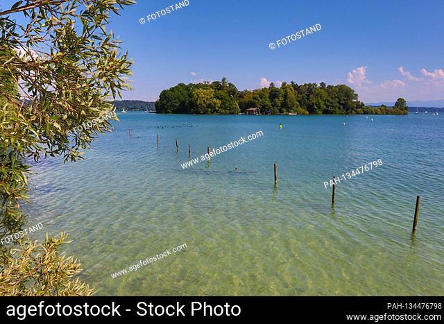 District of Starnberg, Germany August 1st, 2020: Impressions Starnberger See - 2020 Feldafing, Roseninsel, Starnberger See, Feldafinger Park, Fuenfseenland
