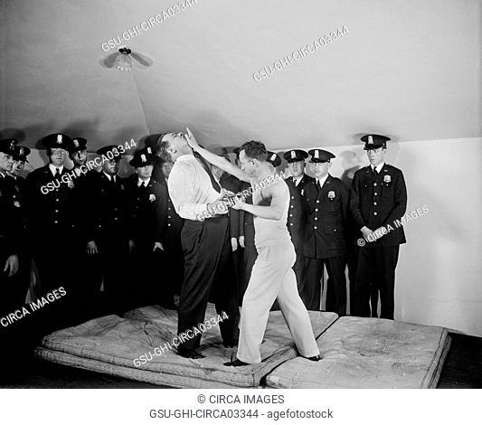 Group of Policemen Learning Self-Defense, Washington DC, USA, Harris & Ewing, January 1930