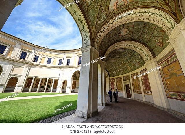 Rome. Italy. National Etruscan Museum of Villa Giulia. . . Villa Giulia, built 1551-1553, the semicircular loggia at the rear of the building by Giacomo Barozzi...