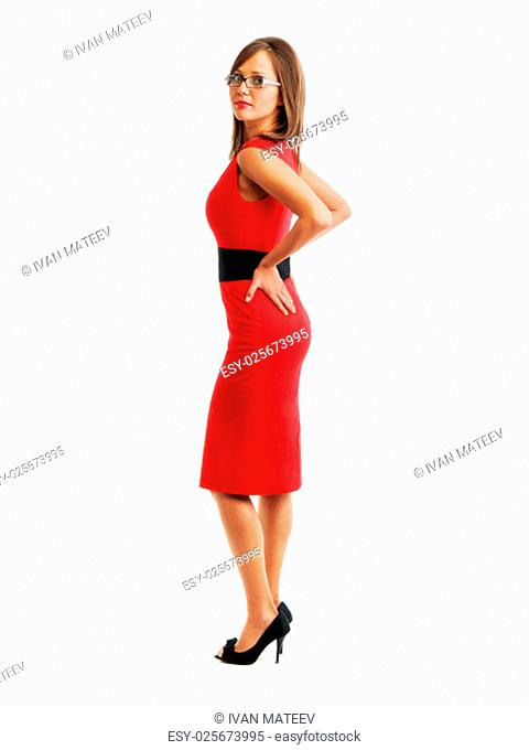 Young woman in red dress wearing eyeglasses, suitable to reprisent a business person, a secretary, isolated on white