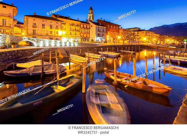 Touristic harbour of Ascona at dusk, Ascona, Lake Maggiore (Verbano), Canton of Ticino, Switzerland, Europe