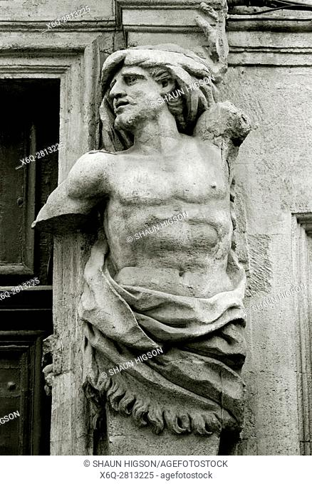 Sculpture outside a house on the Place de Verdun in Aix en Provence in Provence Alpes Cote d'Azur in France in Europe