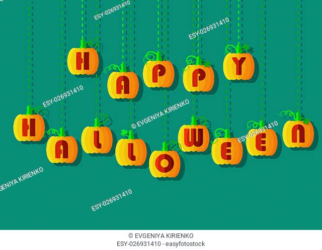 Happy Halloween by pumpkin font. Orange geometric pumpkins with red signs. Jack of the Lantern. illustration