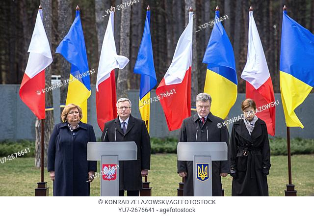 President of Poland and Ukraine B. Komorowski and P. Poroshenko during 75th anniversary of Katyn massacre at Bykivnia Graves