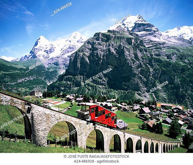 Allmendhubelbahn. Jungfrau Mountain. Murren City. Lauterbrunen Valley. Switzerland