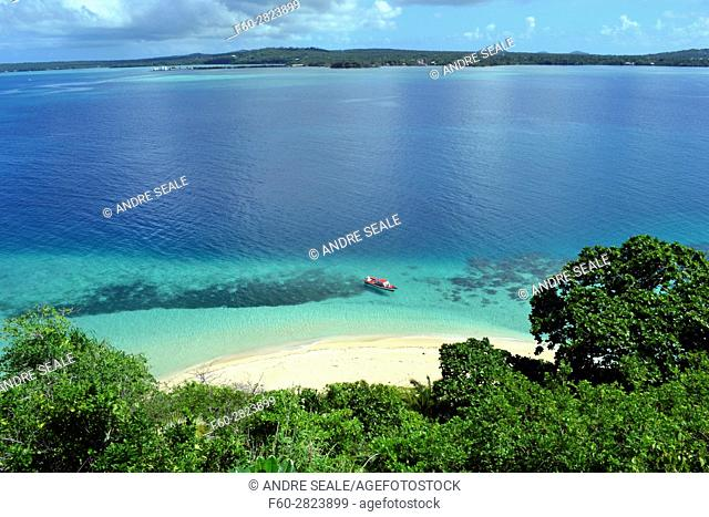 Boat docked in a beach in Nukutapu islet, Wallis Island, Wallis and Futuna, Melanesia, South Pacific