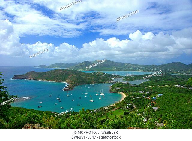 Leewards Island; Leeward Inseln; Shirley Heights; English Harbour; Falmouth Harbour, Antigua and Barbuda, Caribbean Sea