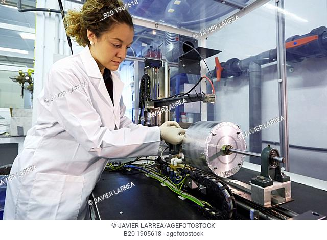 Researcher testing, Development of nanofibers by electrospinning, Industry, Tecnalia Research & innovation, Technology and Research Centre
