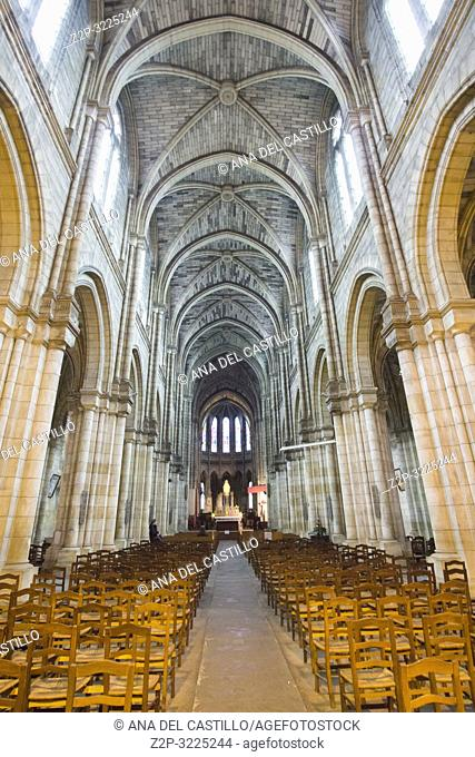 Bergerac is a commune and a sub-prefecture of the Dordogne department in southwestern France Aquitaine on December 6, 2018: Eglise Notre Dame church